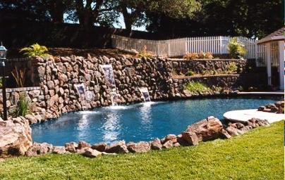 rock waterfall pool remodel